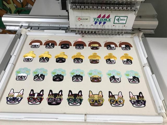 モリココさんのフレンチブルドックちゃん刺繍の試し縫い♪