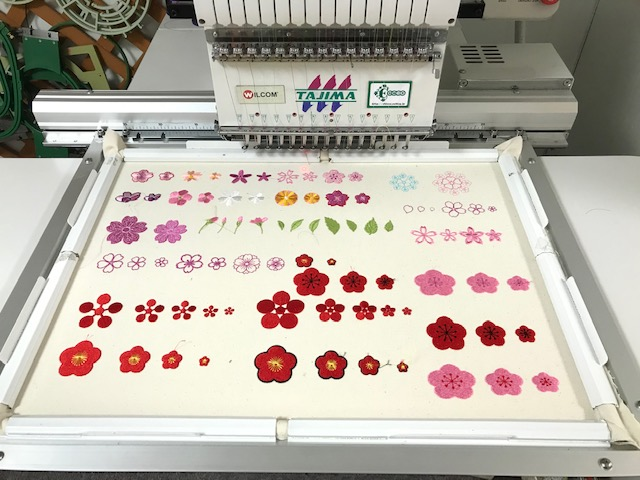 和柄刺繍CD企画 その7  梅の花の刺繍試し縫い♪ 一歩一歩♪