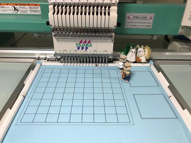 フェルト製将棋盤製作 その1  水色のフェルト盤