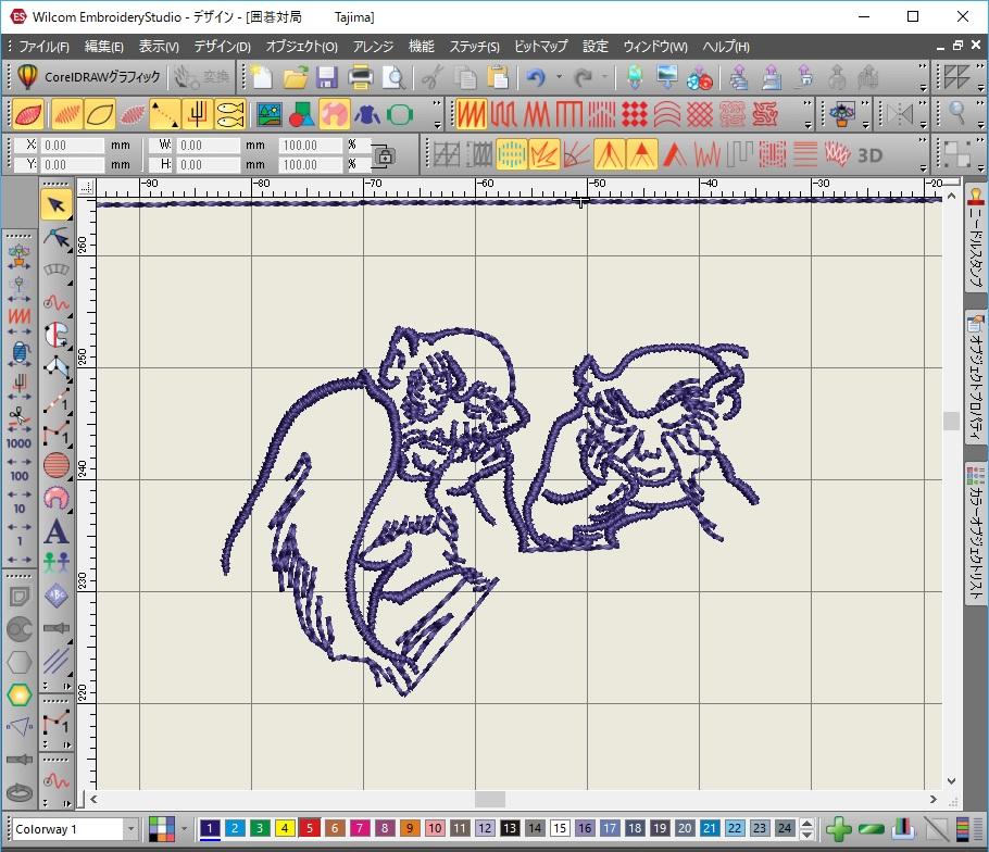 鳥獣戯画 囲碁の対局図刺繍データ作り お猿さん二匹目!