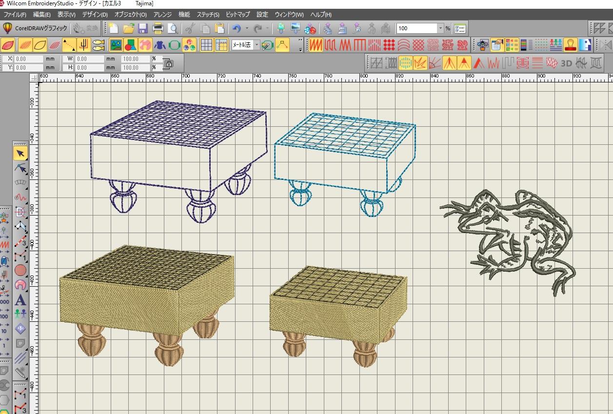 碁盤、将棋盤の線画刺繍データ作り♪