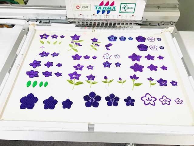 和柄刺繍CD企画 その9  桔梗・鉄線の刺繍データ試し縫い♪