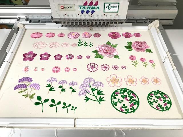 和柄刺繍CD企画 その11 撫子、藤袴、萩の刺繍データ試し縫い♪