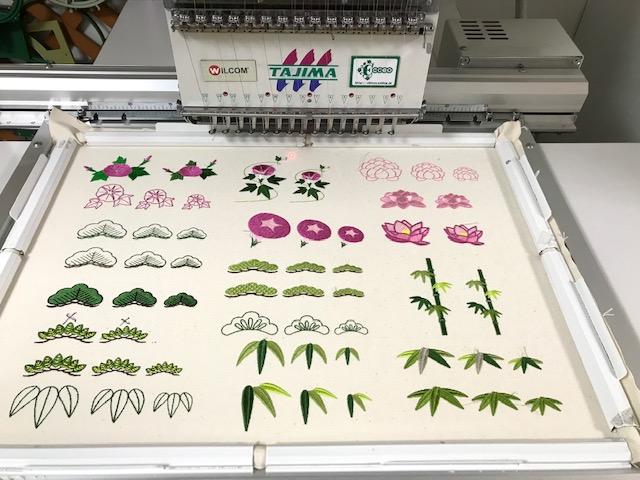 和柄刺繍CD企画 その13  松、竹、銀杏、紅葉の刺繍データ試し縫い♪