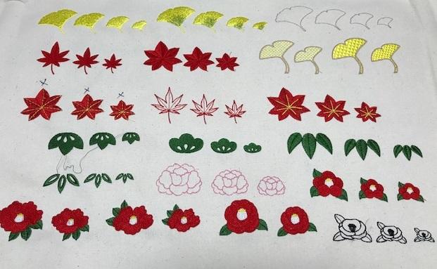 和柄刺繍CD企画 その14  椿、金駒刺繍風源氏車、幾何学模様の刺繍データ試し縫い♪
