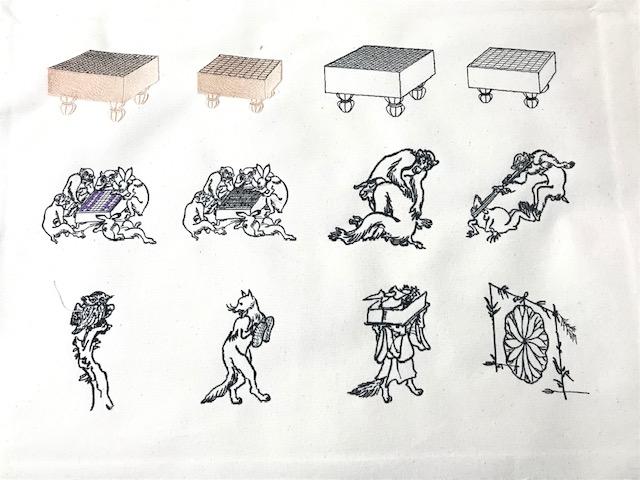 和柄刺繍CD企画 その19  鳥獣戯画デザイン刺繍の試し縫い♪
