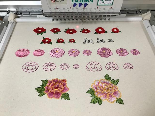 和柄刺繍CD企画 その21  鬼検品と試し縫い 椿、牡丹、桔梗、菊。