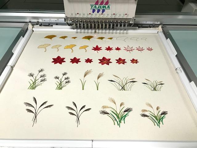 和柄刺繍CD企画 その23 鬼検品と試し縫い 銀杏・紅葉・薄・和模様の試し縫い♪