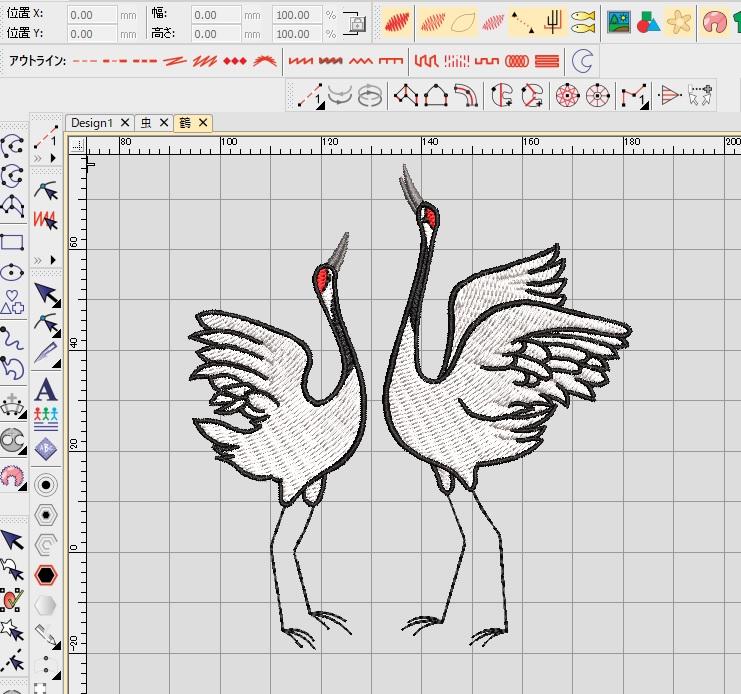 デコレーションズ刺繍CD企画♡ その37 鶴と虫のデータ製作♪ entrance embroidery