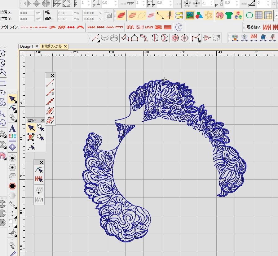 デコレーションズ刺繍CD企画♡ その48 おリボンスカルデータ製作♪ entrance embroidery