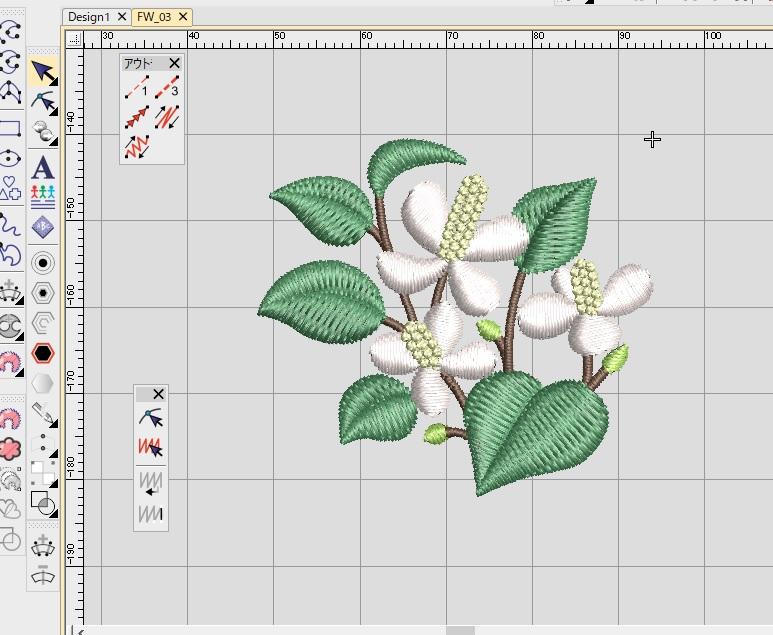 新刺繍CD企画 その13 ドクダミのお花刺繍データの鬼検品♪ 扇風機のお掃除♪